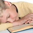 Stock Photo: Teenager fell asleep reading book. Schooling.