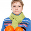 Teen Shows oranges. The child has a sore throat. He tied a warm — Stock Photo