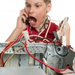 Repair your computer. A young man calls to technical support. — Stock Photo #5213893