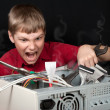 Stock Photo: Repair your computer. Troubleshooting with spanner.