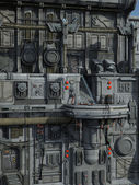 SCI-FI industrial town — Stock Photo