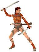 Woman warior with swords — Stock Photo