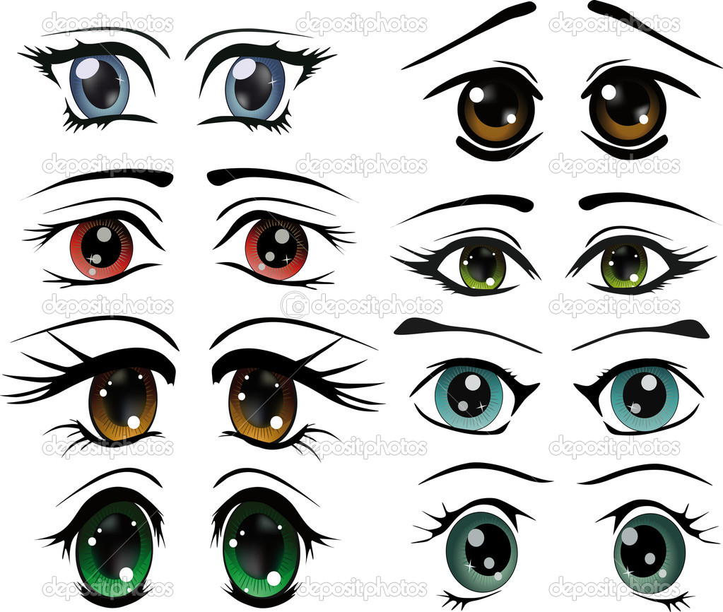 The complete set of the drawn eyes animation cosmetics cartoon makeup doll — Vettoriali Stock  #3928691