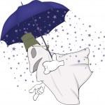 Постер, плакат: Evil spirits and magic umbrella
