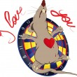 Rat love and a darts - Stock Vector