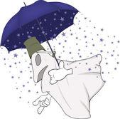 Evil spirits and magic umbrella — Stock Vector
