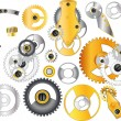 Complete set mechanisms and gears — Stock Vector #4015623