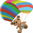 Toy bear on the para clown - Stock Vector