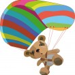 Toy bear on the para clown - Stockvectorbeeld