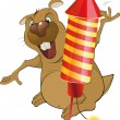 The beaver and celebratory attributes - Imagen vectorial