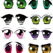 Stock Vector: Complete set of drawn eyes