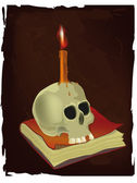 Skull, the book and candle — Stock Vector