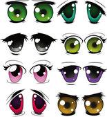 Komple set çekilmiş gözlerin — Stok Vektör