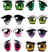 El conjunto completo de los ojos dibujados — Vector de stock
