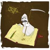 The magic book and evil spirits prisoner — Stock Vector