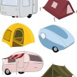 The complete set camping - Stock Vector