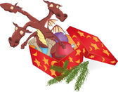 Dragon in a gift box — Stock Vector