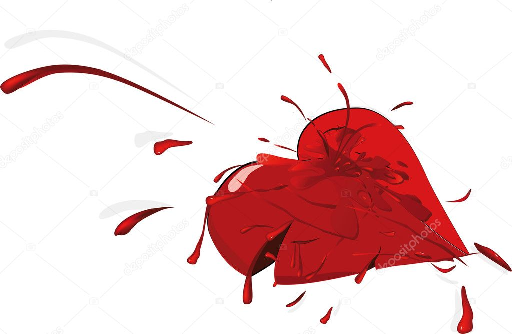 The broken heart blood drops valentine — Stock Vector #4298562