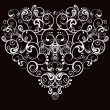 Heart, abstract pattern on a black background — Stock Vector