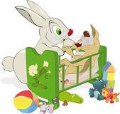 Mãe e não um coelho pequeno obediente — Vetorial Stock
