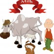 The boy a cow and milk - Stock Vector