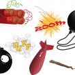 The complete set an explosive - Stock Vector