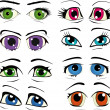 Complete set of drawn eyes — Stock Vector #4664757