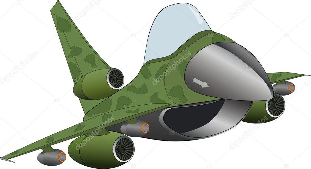 Il cartone animato aereo jet militari moderni — vettoriale