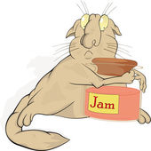 Cat and jam — Stock Vector