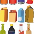 Different tins bottles packages — Imagen vectorial