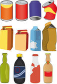 Different tins bottles packages — Stock Vector