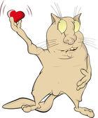 Gato y corazón — Vector de stock