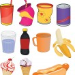 Stock Vector: Set banks drinks and products