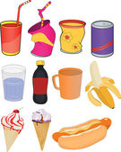 Set banks drinks and products — Stock Vector