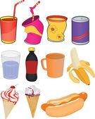 Zestaw banki napoje i produkty — Wektor stockowy
