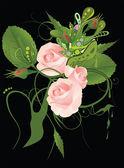 Patrón abstracto con flores rosas — Vector de stock