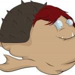 The sea monster.Fish a hedgehog.Cartoon — Stock Vector