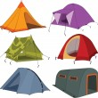 Set of tourist tents — Stock Vector