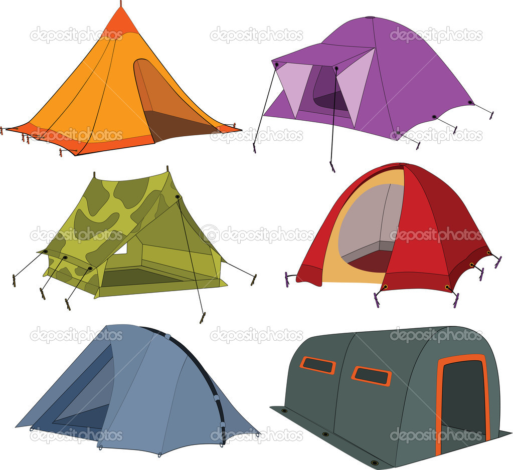 Set of tourist tents adventure camping — Stock Vector #5261524