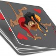 Pack of playing cards and a joker. Monkey.Cartoon — Stock Vector
