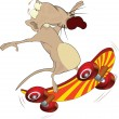 Rat and skate board .Cartoon — Stok Vektör