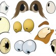 The complete set of the drawn eyes. Cartoon — Stock Vector