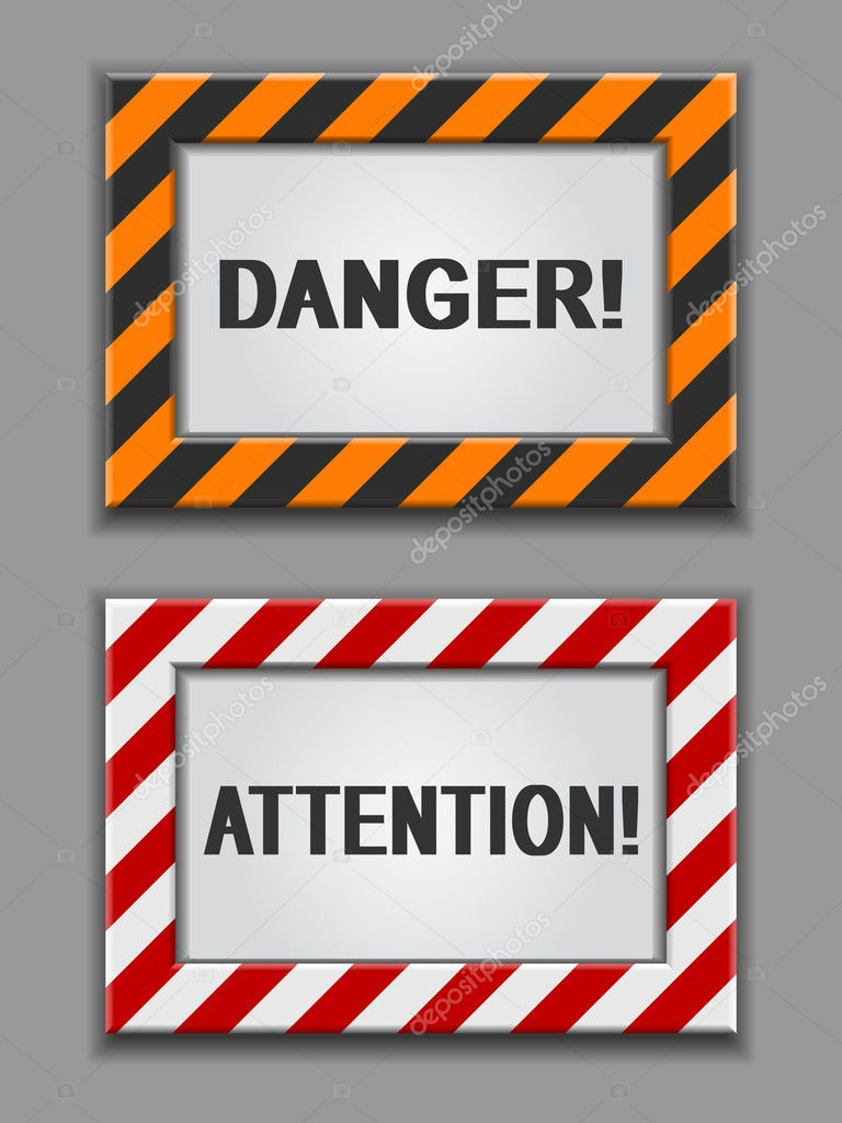 Vector red and yellow warning signs on a grey background — Stock Vector #3972870