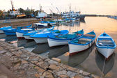 Boats near sea mooring — Stock Photo