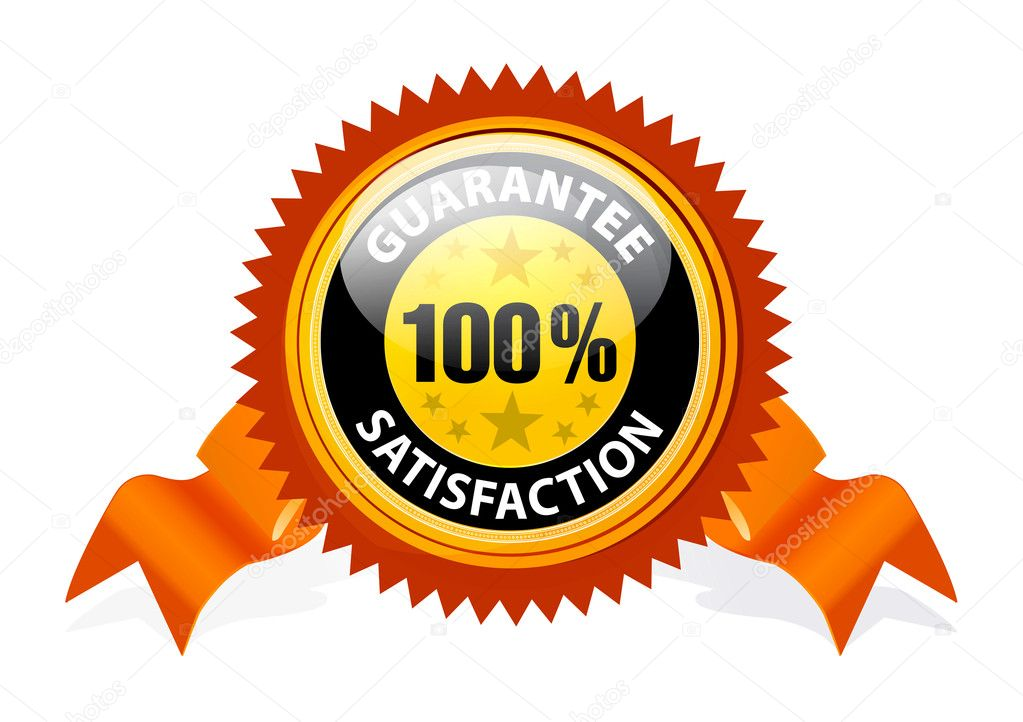 100% Satisfaction Guaranteed Sign with ribbon on white background — Stock Vector #4305331