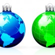 Stock Vector: Globe christmas balls