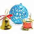 Blue Christmas ball bell — Stock Photo #4353036