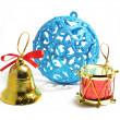 Blue Christmas ball bell — Stock Photo