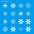 Vector de stock : Set with snowflakes on blue background for design