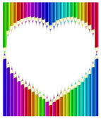 Colored pencils in heart shape form/ Vector Illustration — Stock Vector
